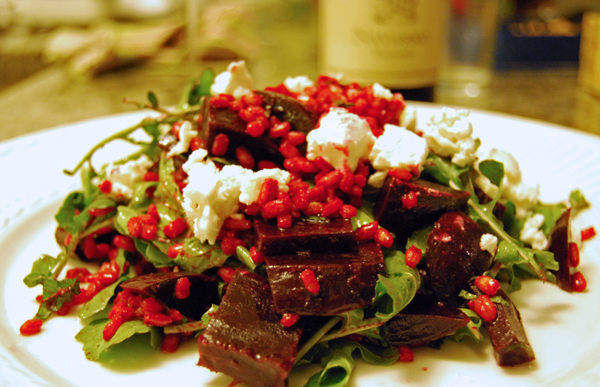 Post image for Beet Salad with Barley, Goat Cheese, Arugula & Mint