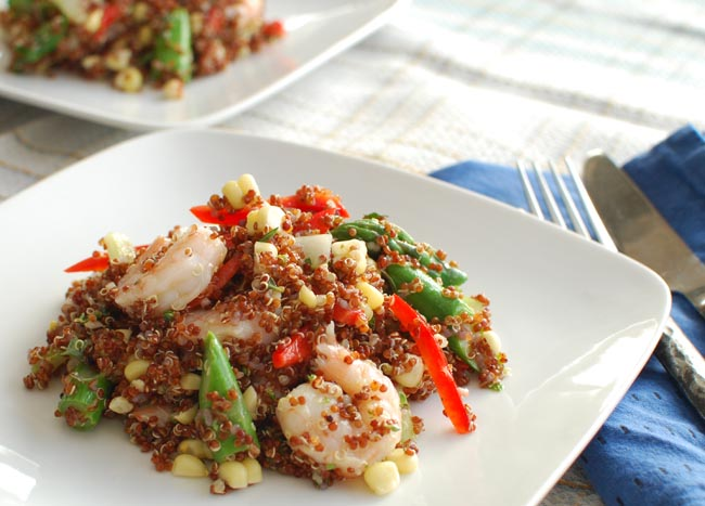 Post image for Quinoa Salad with Shrimp, Asparagus, Fresh Corn and Herb Lime Vinaigrette