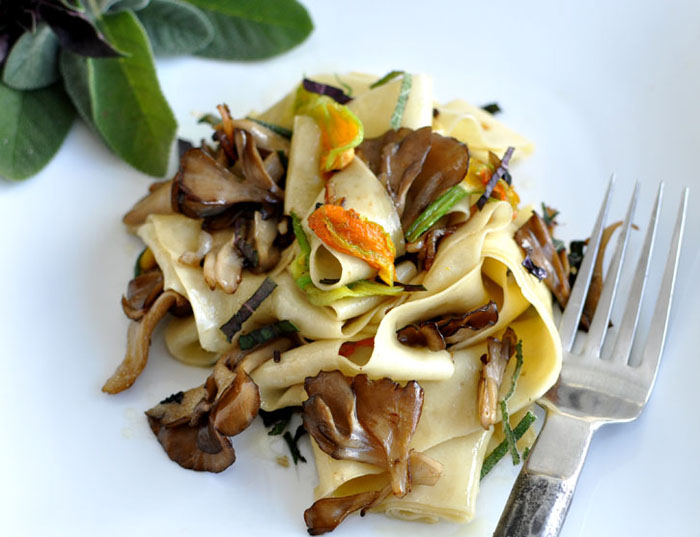 Post image for Hand Cut Pasta with Maitake Mushrooms and Squash Blossoms
