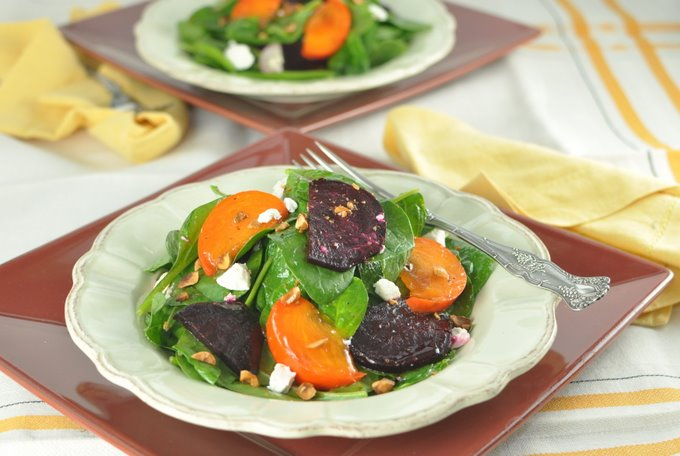 Post image for Spinach Salad with Persimmons, Roasted Beets, Goat Cheese and a Toasted Hazelnut Vinaigrette
