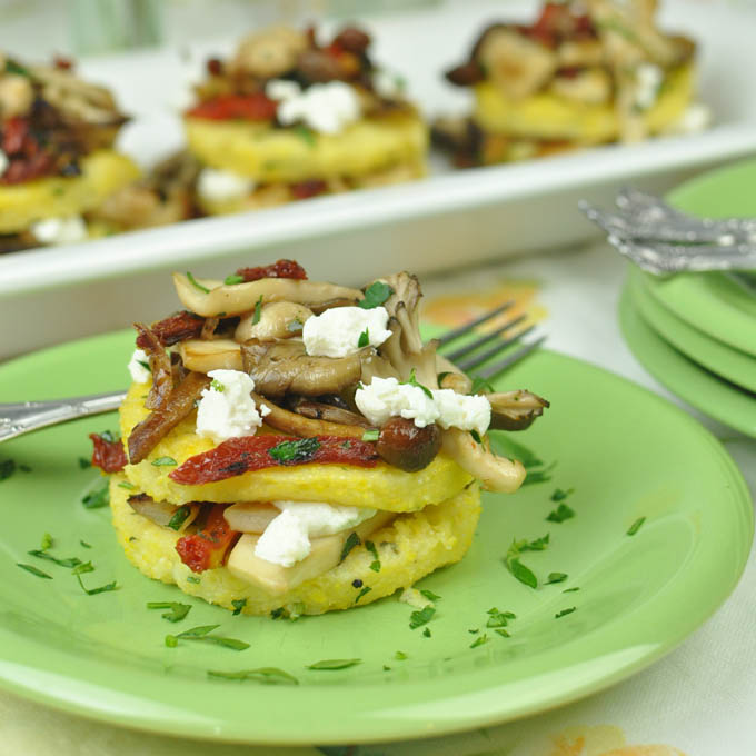 Post image for Wild Mushrooms with Polenta, Sun Dried Tomatoes and Goat Cheese