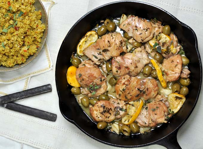 Post image for Sherry Braised Chicken Thighs with Meyer Lemons and Green Olives