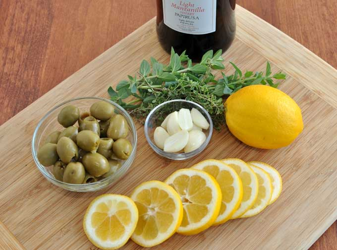 Recipe for Sherry Braised Chicken Thighs with Meyer Lemons and Olives