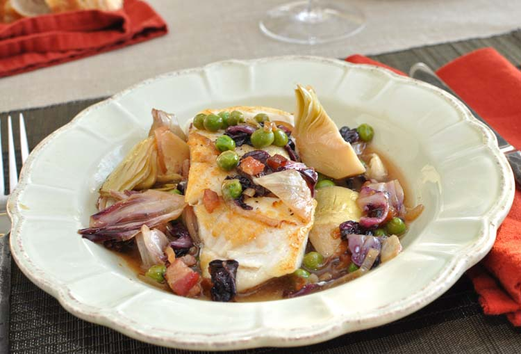 "Post image for Roasted Halibut with Radicchio-Pancetta Sauce, Peas and Artichokes from ""Good Fish"""