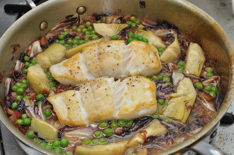 Roasted Halibut with Peas &amp; Pancetta in Pan