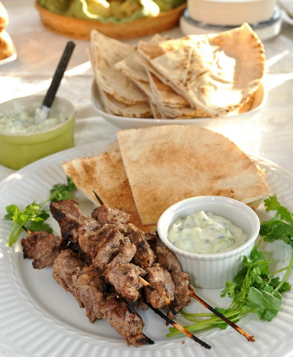Post image for Grilled Goat Skewers with Cucumber Yogurt Sauce