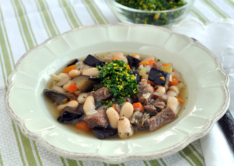 Post image for Cannellini Bean Soup With Beef, Roasted Eggplant and Orange Gremolata