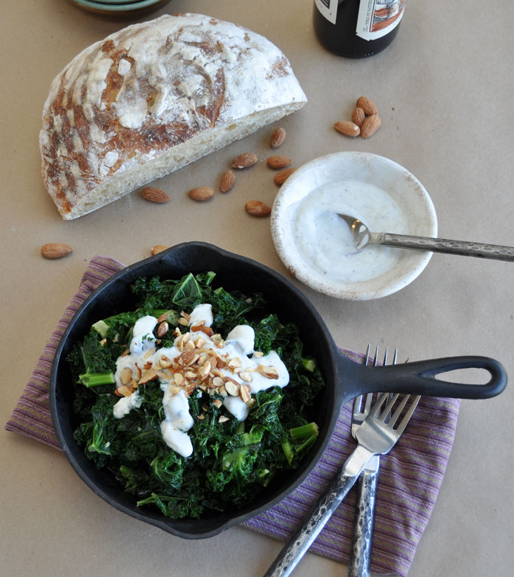 Post image for Sautéed Kale with Sumac Yogurt and Roasted Almonds