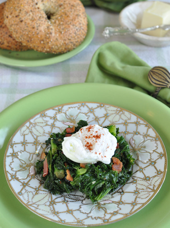 Post image for Cooking In The Vortex~Poached Eggs With Kale And Bacon