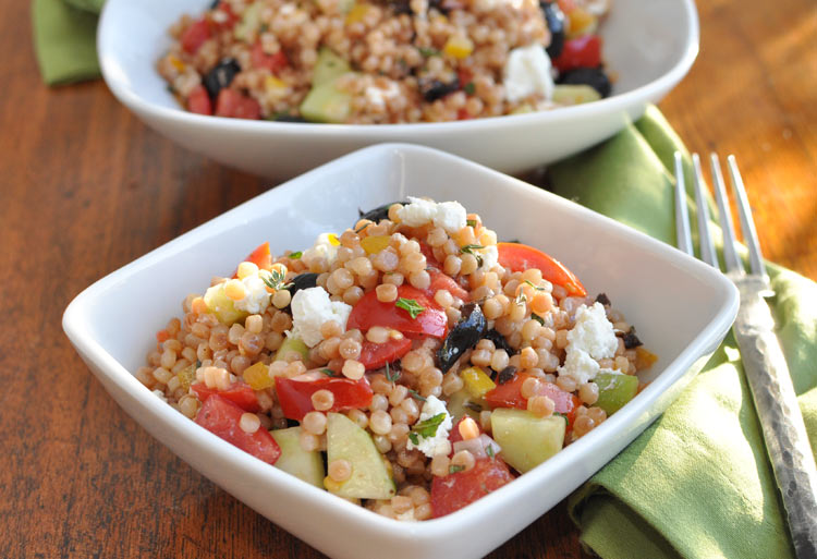 Toasted Israeli Couscous Salad with Olives, Tomatoes, Goat Cheese and ...