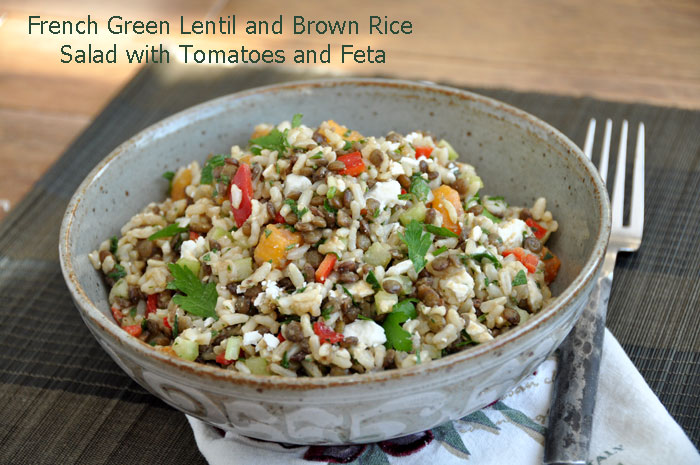 French Green Lentil, Brown Rice, Tomato and Feta Salad