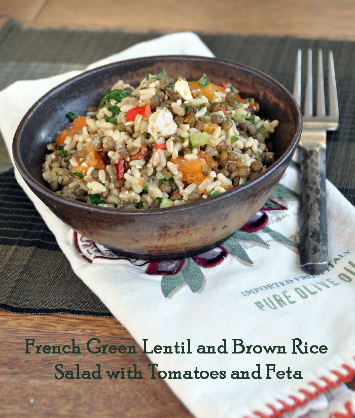 Post image for French Green Lentil, Brown Rice, Tomato and Feta Salad
