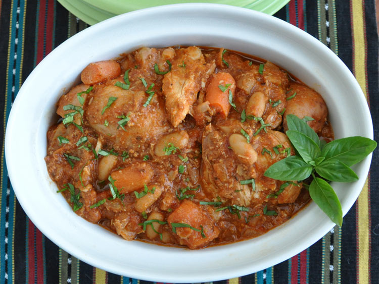 Slow Cooked Chicken with Cannellini Beans, Fennel and Tomato