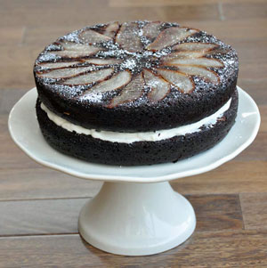 Thumbnail image for Chocolate Spiced Pear Cake with Cream Cheese Filling