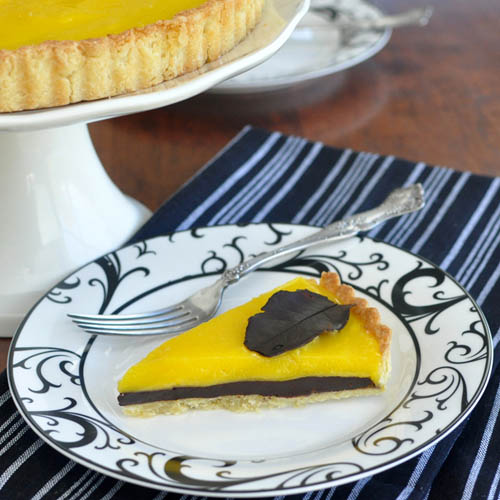 Lemon Curd and Chocolate Ganache Tart