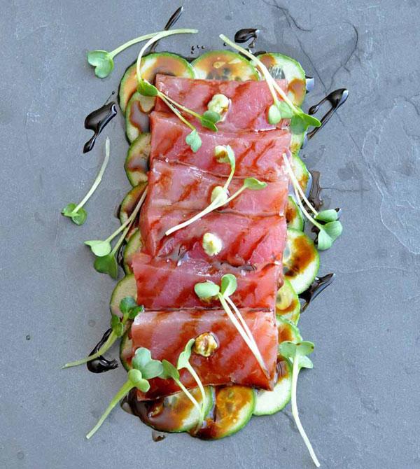 Ahi Tuna Crudo with Sweet Soy, Wasabi and Cucumber on www.formerchef.com