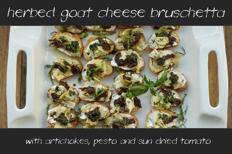 Post image for Herbed Goat Cheese Bruschetta with Artichokes, Sun Dried Tomato and Pesto