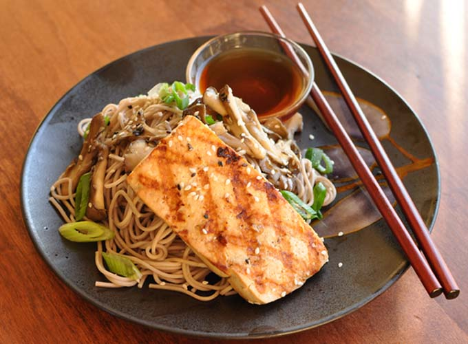 Grilled Tofu with Cold Soba Noodles by FormerChef.com