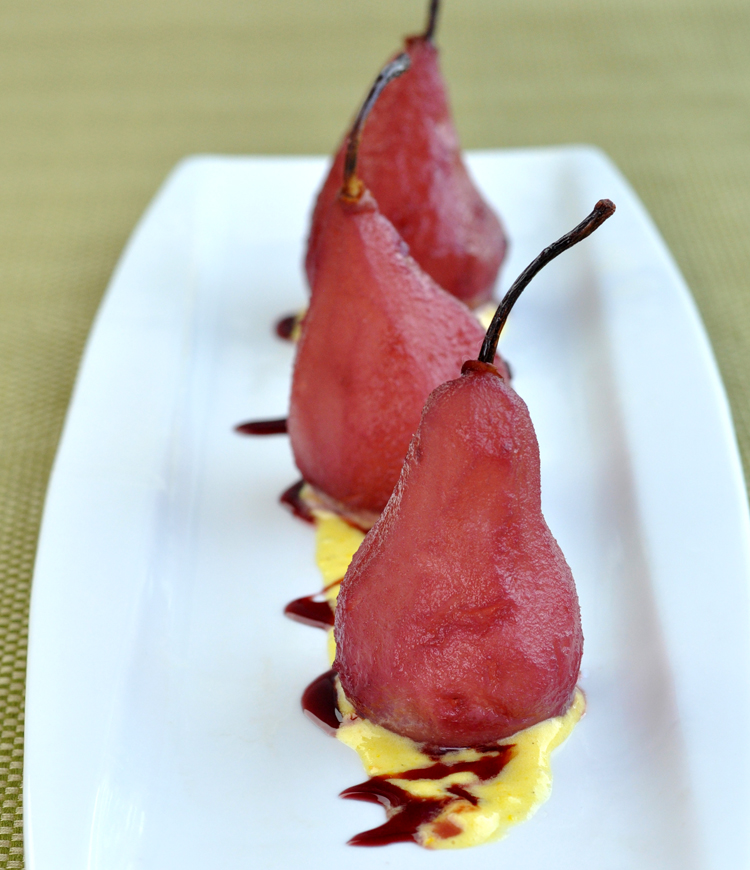 Post image for Pears Poached in Red Wine with Orange Cardamom Sabayon