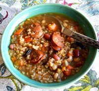 Thumbnail image for Bits of Everything Soup; Beans, Rice and Sausage