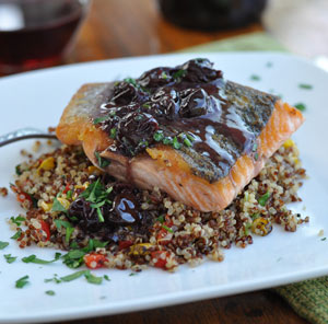 Thumbnail image for Pan Roasted Salmon with Pinot Noir Cherry Sauce